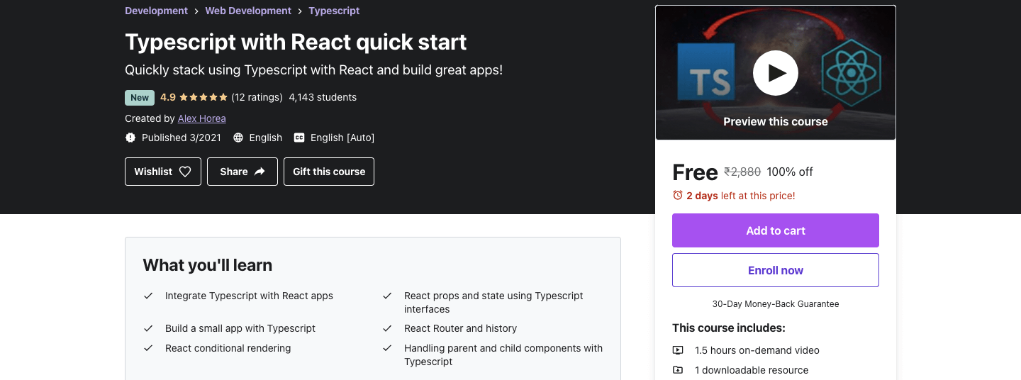 Typescript with React quick start