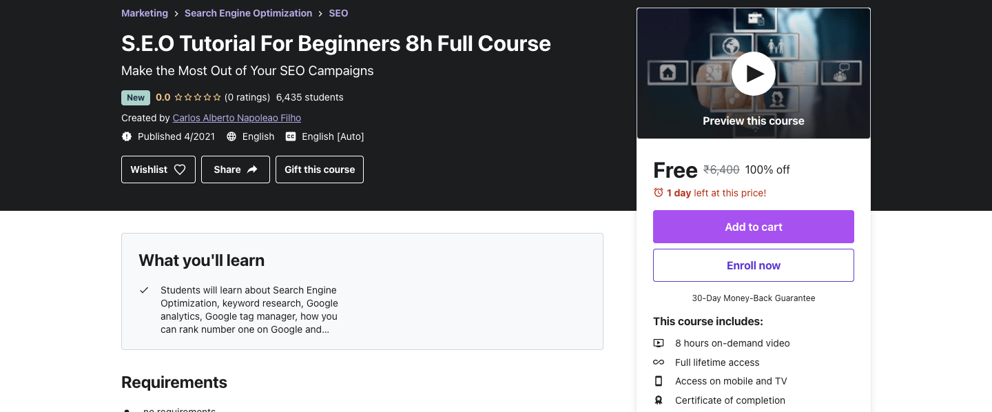 S.E.O Tutorial For Beginners 8h Full Course
