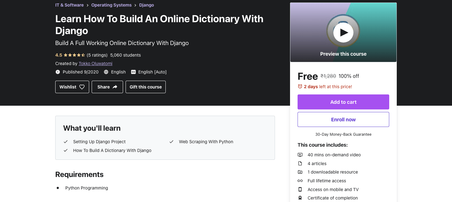 Learn How To Build An Online Dictionary With Django
