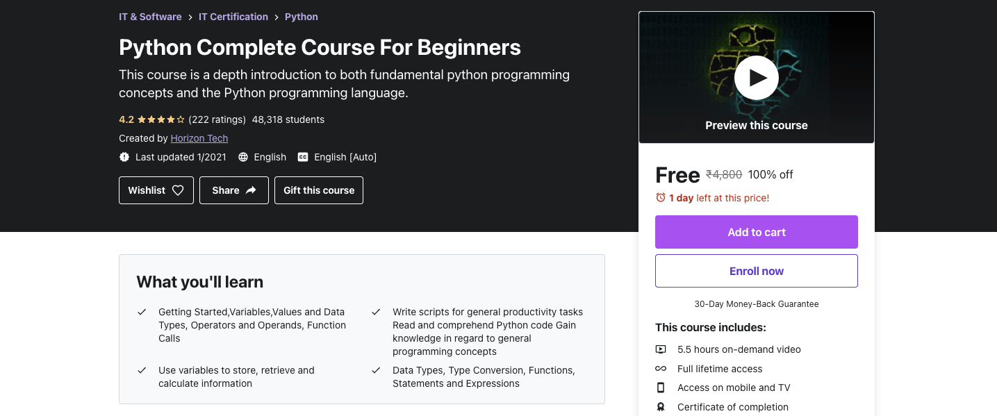 Python Complete Course For Beginners