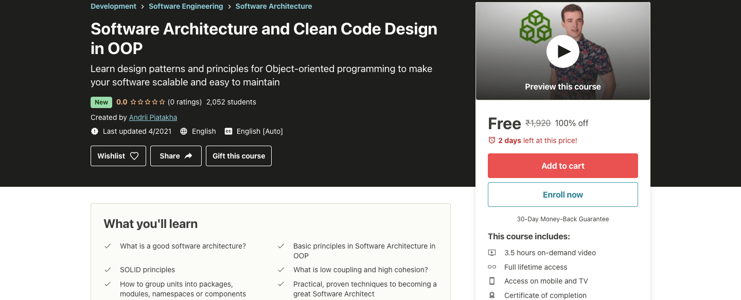 Software Architecture and Clean Code Design in OOP