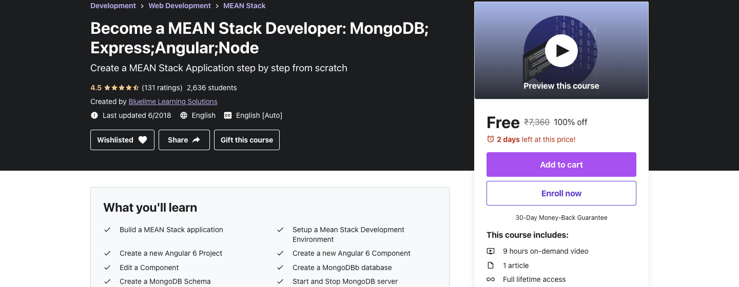 Become a MEAN Stack Developer: MongoDB; Express;Angular;Node