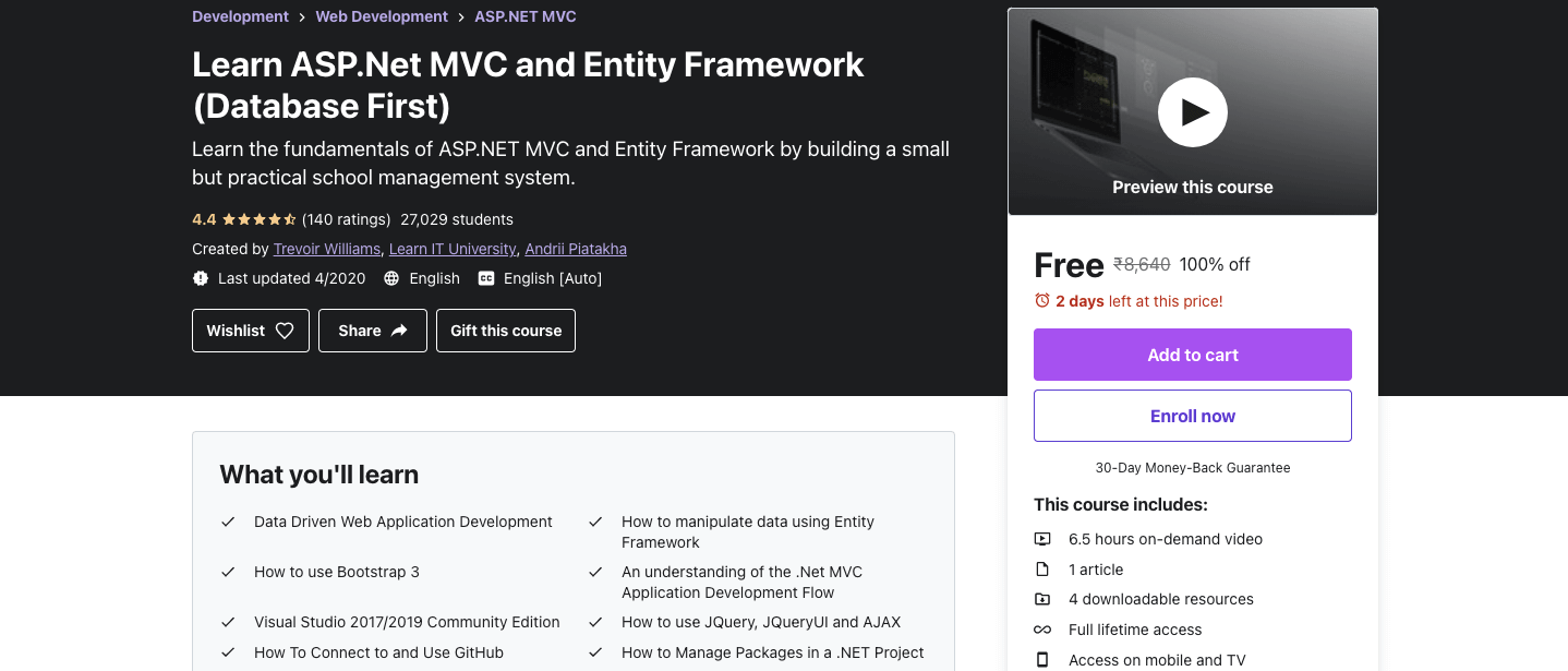 Learn ASP.Net MVC and Entity Framework (Database First)