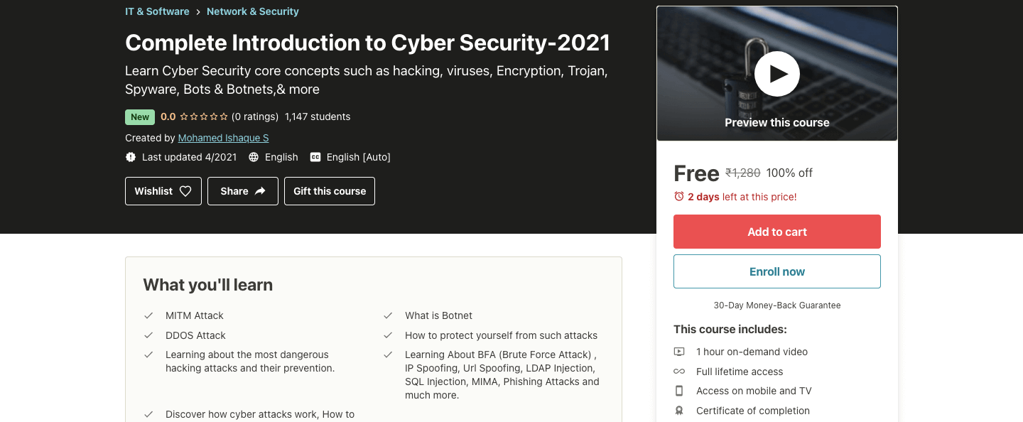 Complete Introduction to Cyber Security-2021