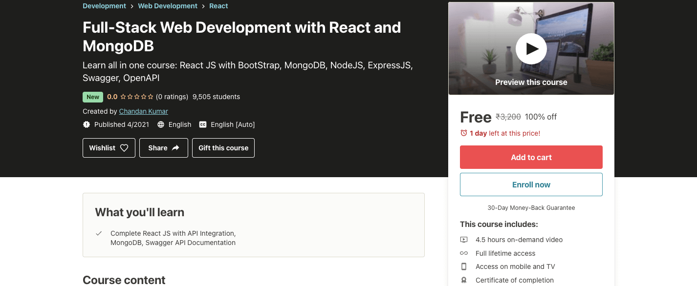 Full-Stack Web Development with React and MongoDB