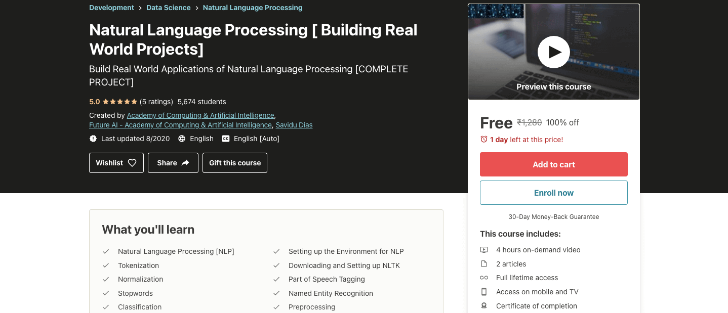 Natural Language Processing [ Building Real World Projects]