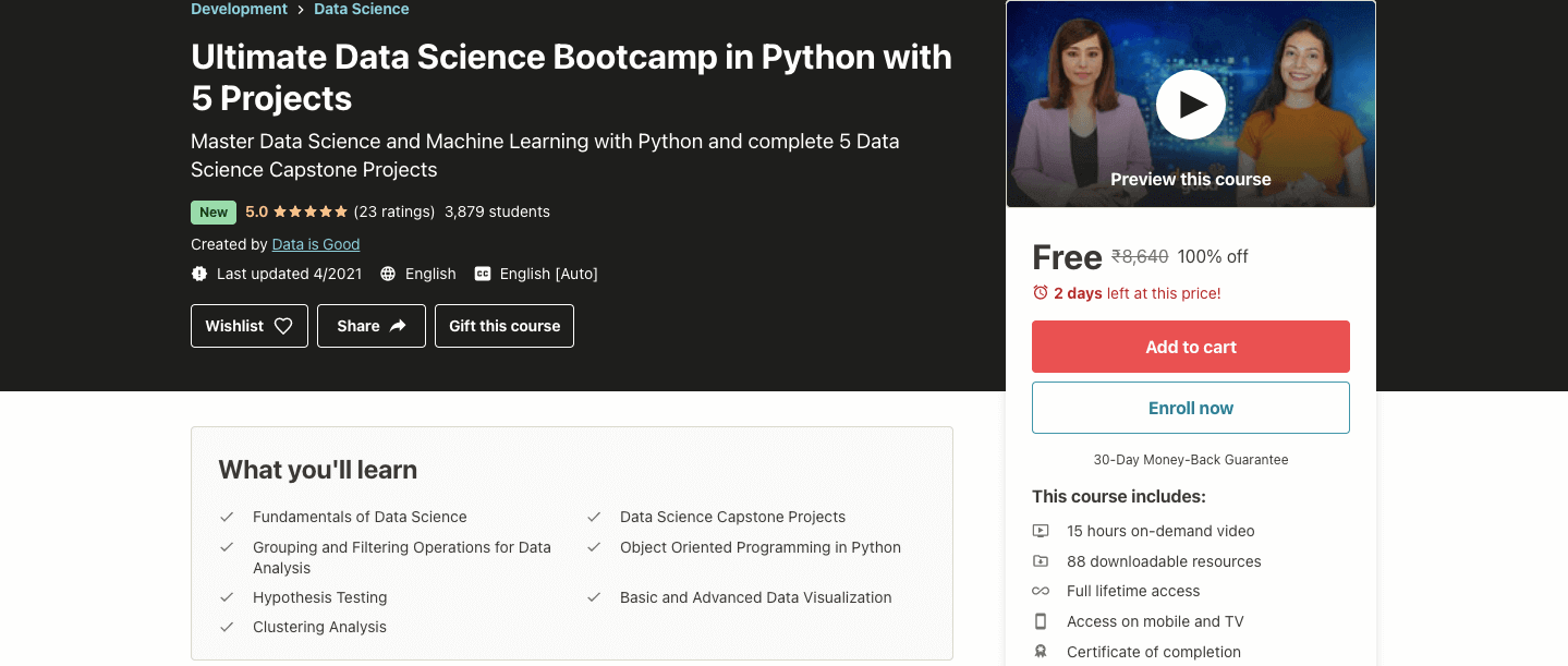 Ultimate Data Science Bootcamp in Python with 5 Projects
