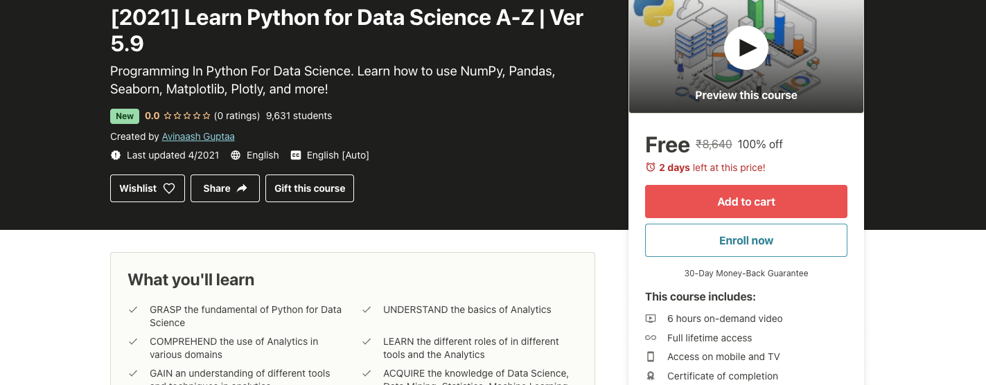 [2021] Learn Python for Data Science A-Z | Ver 5.9