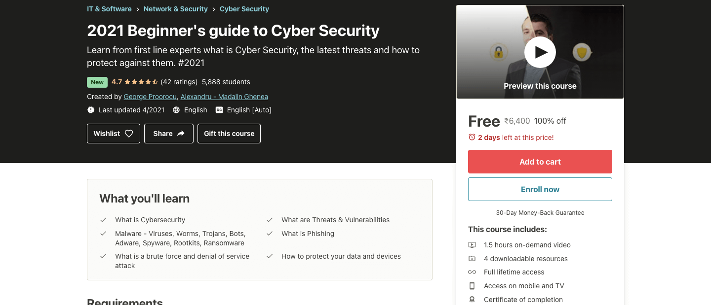 2021 Beginner's guide to Cyber Security