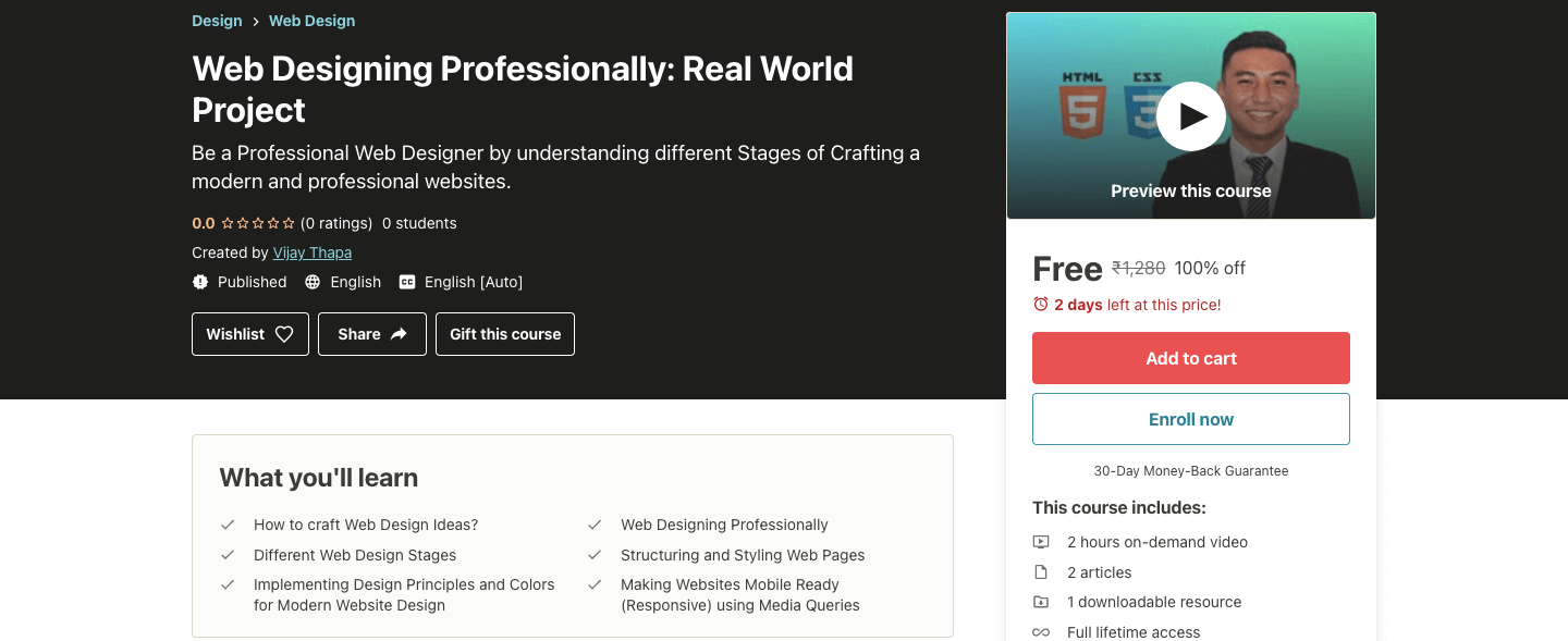 Web Designing Professionally: Real World Project