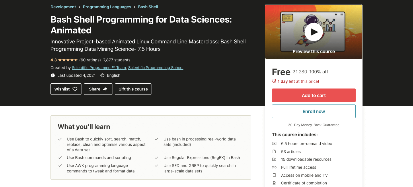 Bash Shell Programming for Data Sciences: Animated