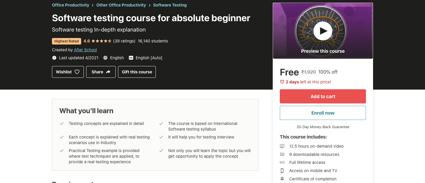 Software testing course for absolute beginner