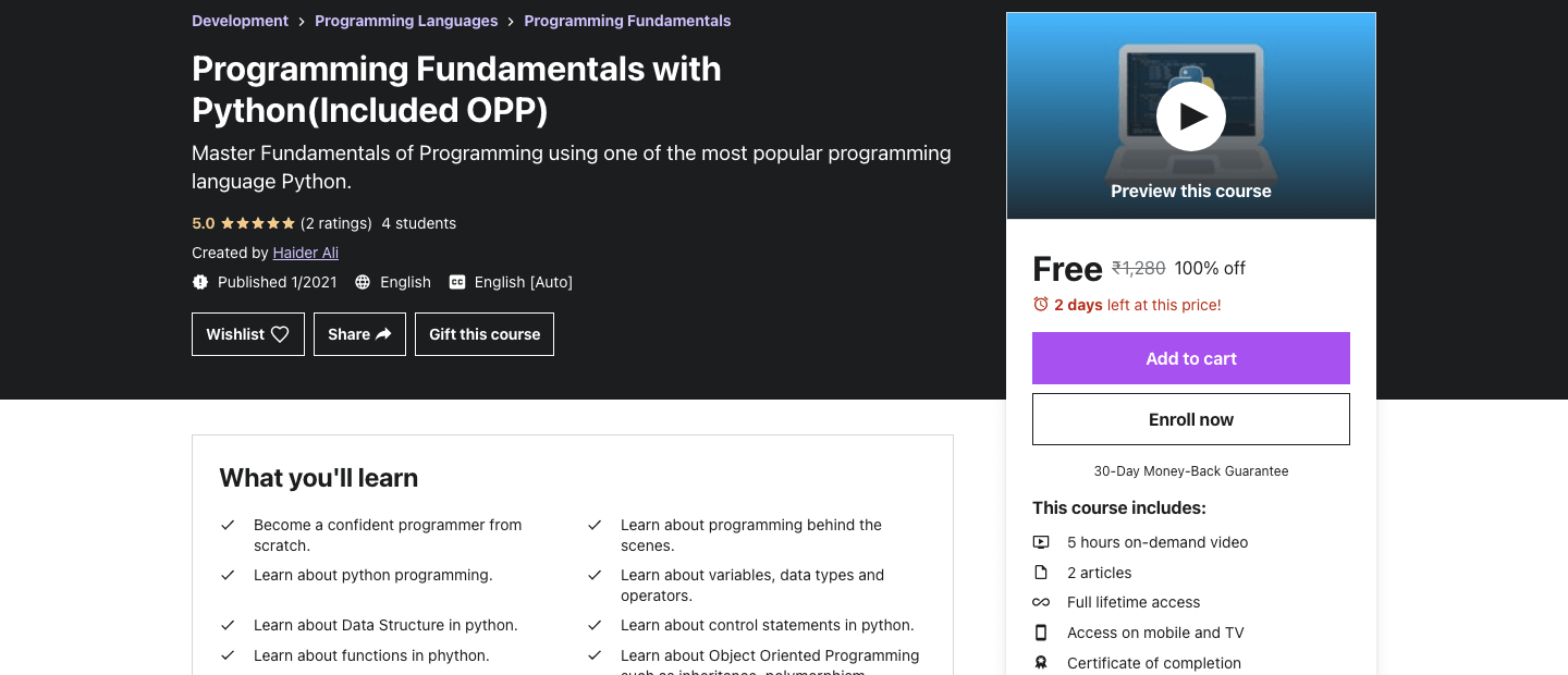 Programming Fundamentals with Python(Included OPP)