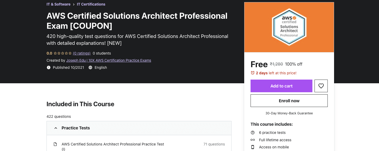 AWS Certified Solutions Architect Professional Exam [COUPON]