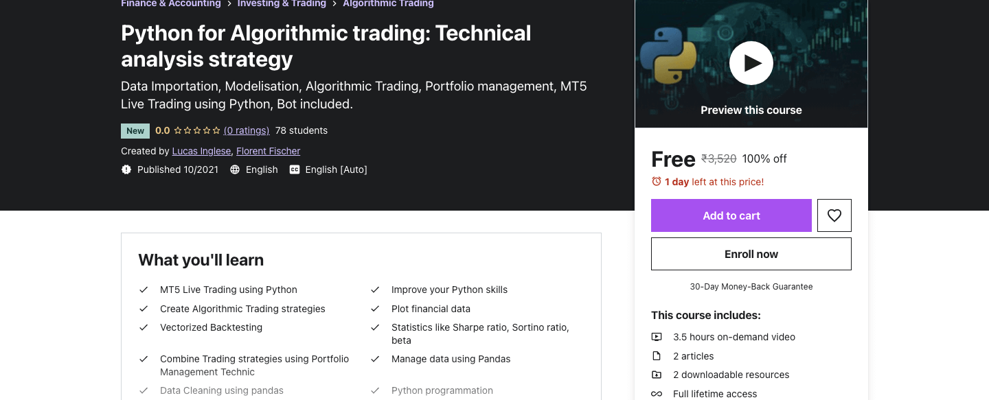 Python for Algorithmic trading: Technical analysis strategy